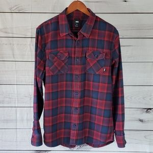 Vans• L shirt flannel plaid pockets red blue